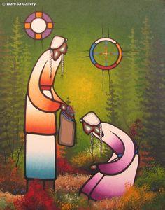 "Leland Bell: ""Trustful"" Native Style, Native Art, Native American Art, Woodlands School, Alta Lakes, Manitoulin Island, Virtual Art, Header Image, Indigenous Art"