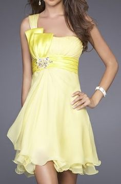 Bridesmaid dress? $57.99 - In blue? A-Line One Shoulder Short Chiffon Prom Cocktail Dress