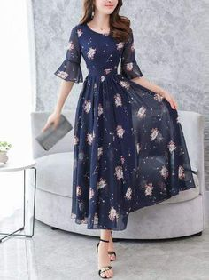 Fashion Chiffon V-Neck Flare Sleeve Print Maxi Casual Dresses - dressesstar Short Beach Dresses, Cute Dresses, Casual Dresses, Fashion Dresses, Maxi Dresses, Elegant Dresses, Shifon Dress, Summer Dresses, Formal Dresses