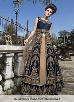 Royal blue and dark gold lehenga