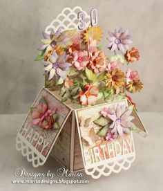 Designs by Marisa: Craft Hoarders Anonymous - Flower Scalloped Pop Up Box - February 2016 Pop Up Box Cards, 3d Cards, Stampin Up Cards, Card Boxes, Box Cards Tutorial, Card Tutorials, Birthday Box, Birthday Cards, Birthday Presents