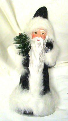 """11"""" INO Schaller Paper Mache Black Sandstone Santa w Wht Fur Candybox Bavaria"""