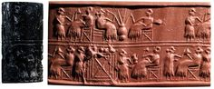 11 Banquet scene, cylinder seal and its modern impression - Ur, Iraq - c. 2600 BCE - Ancient Middle East