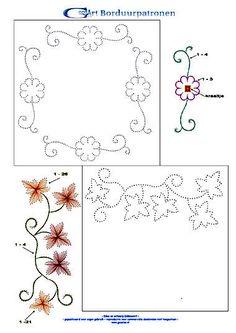 card embroidery - viny leaf border, viny flower border