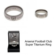 Rings for Men: Arsenal FC Super Titanium Ring Small - Arsenal Football Club #FineGifts #OfficialFootballClubProducts