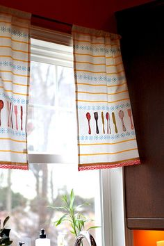 Tea towel kitchen curtains - a few more on the link.