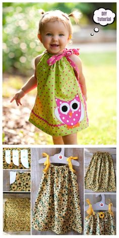 DIY Pillowcase Dress Top Romper Tutorial - DIY Simplest Girl's Pillowcase Dress Tutorial + Video pillow ideas 2020 Pillowcase Dress Pattern, Baby Dress Patterns, Pillowcase Dresses, Pillowcase Romper Tutorial, Skirt Patterns, Coat Patterns, Blouse Patterns, Sewing Patterns, Sewing Kids Clothes