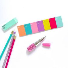 Colorful erasers, pencils, and pens!   Get my FREE social media e-course at caitlinbacher.com