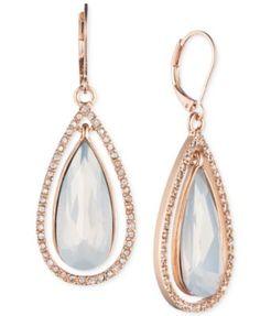 Anne Klein Rose Gold-Tone Crystal Teardrop and Pavé Earrings