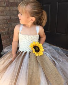 74bd056b Sunflower burlap wedding dress, ivory tutu dress, country wedding, poofy  flower girl dress, ivory ye