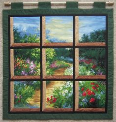 Attic Window Forest with a Path Wall Hanging by jamiespatchwork