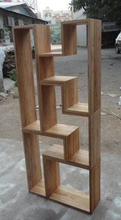 Tetris Bookshelf Living Room Partition, Room Partition Designs, Inexpensive Furniture, Home Furniture, Furniture Design, Wood Projects That Sell, Diy Wood Projects, Wall Shelves Design, Wood Shelves