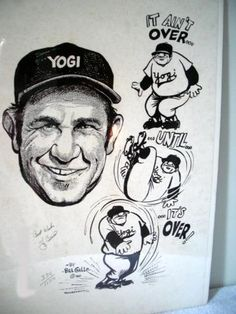 Yogi Berra Autographed and Inscribed Print by Bill Gallo | crazycollectors.com