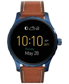 Fossil Men's Digital Q Marshal Saddle Leather Strap Smart Watch 45mm FTW2106