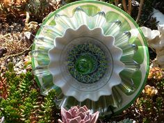 Dj's Drought Resistant Plate Plate Flowers. #173.    Garden Yard Art glass and ceramic plate flower