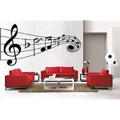 Newclew MUSIC Musical NOTES large removable Vinyl Wall Quote Decal Home Décor Large