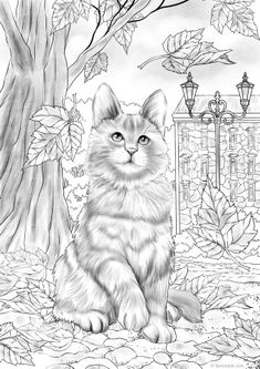 Autumn Kitty - Printable Adult Coloring Page from Favoreads (Coloring book pages for adults and kids, Coloring sheets, Colouring designs) Fall Coloring Pages, Cat Coloring Page, Printable Adult Coloring Pages, Coloring Pages To Print, Animal Coloring Pages, Coloring Books, Free Coloring Sheets, Kids Coloring, Play