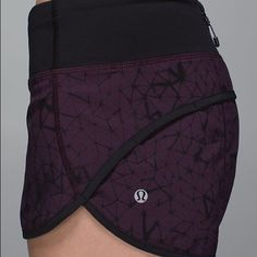 Lululemon run speed short Very rare pattern! Black cherry with black waist.  Excellent condition worn only a couple of times. ❌no trades, sold as is. lululemon athletica Shorts