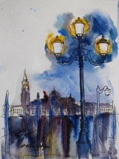 Olga Vinnitskaya. Venezia, Aquarell mit Edding auf Papier.