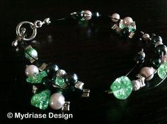 Bracelet fait à la main, pierre semi-précieuse, perle stardust.