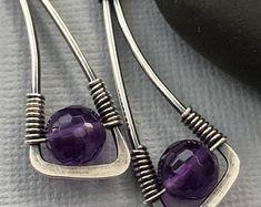 Purple Amethyst Earrings/ Oxidized Sterling silver Earrings/ February birthstone/ Wire Wrapped Silver earrings/ Amethyst gemstone Earrings - DIY AND CRAFTS Wire Wrapped Earrings, Wire Earrings, Earrings Handmade, Handmade Jewelry, Wire Bracelets, Silver Bracelets, Pearl Earrings, Silver Rings, Amethyst Earrings
