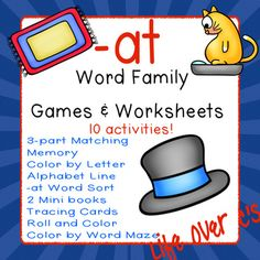 -at Word Family CVC Games/Centers and Worksheets US/UK Versions Making Sentences, Alphabet Line, Cvc Word Families, Word Sorts, Kindergarten Science, Cvc Words, Helping Children, Family Games, Mini Books