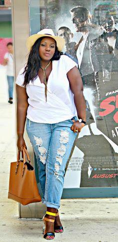 Plus Size Raw Hem Boyfriend Jeans | Plus Size Fashion | Pinterest ...