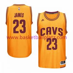 87434b6c9e1 Cleveland Cavaliers Trikot Herren 15-16 LeBron James 23# Gold Alternate  Basketball Trikot Swingman