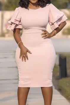 Bodycon Dress With Sleeves, Ruffle Sleeve Dress, Dresses With Sleeves, Midi Dresses, Sheath Dress, White Dress With Sleeves, Party Dresses, Formal Dresses, Wedding Dresses
