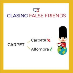 "Muchos aquí cometemos errores! tened cuidado que ""carpet"" en inglés es alfombra!  ...  #clasesdeingles #inglesrapido #bilingual #englishclasses #falsefriends English Tips, English Class, English Grammar, Learn English, False Friends, Spanish Language, Learning Spanish, Vocabulary, Frases"