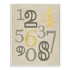 Stupell Industries 'Numbers Neutrals with Gold' by Daphne Polselli Framed Textual Art