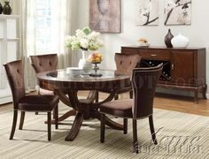 wood round dining room set seating 6 | Round Glass Top Transitional Kingston Dining Table by Acme AMDS 60022 ...