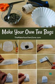 How To Make Your Own Tea Bags - Easy tutorial using coffee filters and loose tea. Perfect as homemade gifts too! How To Make Your Own Tea Bags - Easy tutorial using coffee filters and loose tea. Perfect as homemade gifts too! The Make, Make Your Own, Make It Yourself, How To Make Tea, How To Make Things, Homemade Tea, Homemade Gifts, Diy Tea Bags, Uses For Tea Bags