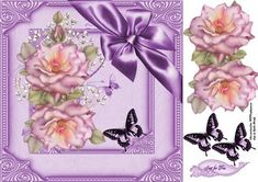 pink rose and butterflies 8x8 on Craftsuprint designed by Cynthia Berridge - 8x8 quick card front with roses to decoupage - Now available for download!
