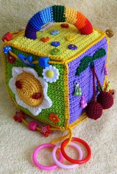 Inspiration – educational toys ***Crochet w/plastic canvas then make the top ope… - Kids&Baby Toys Crochet Pacifier Clip, Crochet Baby Toys, Crochet Amigurumi, Amigurumi Toys, Crochet For Kids, Easy Crochet, Baby Knitting Patterns, Crochet Toys Patterns, Stuffed Toys Patterns
