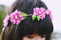 crown of pink flowers...