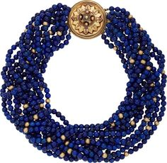 Lapis Lazuli, Gold Necklace The torsade is composed of lapis lazuli beads measuring 5.00 - 5.10 mm, forming twelve strands, completed by a 14k gold clasp. Gross weight 168.86 grams. Length: 14 inches