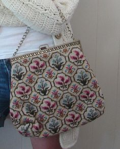 Vintage 50s BIG Needlepoint Purse - $40.00