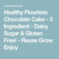 Healthy Flourless Chocolate Cake - 3 Ingredient - Dairy, Sugar & Gluten Free! - Reuse Grow Enjoy