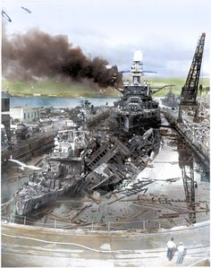 75 years ago today - December 7 USS Downes (left) USS Cassin (leaning against Downes) and the Battleship USS Pennsylvania When the Japanese attacked Pearl Harbor,. Pearl Harbour Attack, Pearl Harbor 1941, Uss Pennsylvania, Remember Pearl Harbor, Us Battleships, Uss Arizona, Imperial Japanese Navy, Us Navy Ships, Abandoned Ships