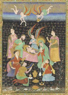 Adoration of the Christ Child. ca. 1630.Golconda, Deccan, India.