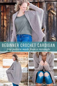 This free crochet cardigan pattern uses two simple rectangles to create a figure-flattering, on-trend, super wearable sweater. Very beginner friendly tutorial featuring Lion Brand Heartland yarn. via Source by MakeAndDoCrew cardigan Cardigans Crochet, Poncho Crochet, Crochet Jacket, Crochet Clothes, Easy Crochet, Free Crochet, Beginner Crochet, Crochet Granny, Crochet Cardigan Pattern Free Women