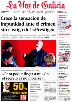 Los Titulares y Portadas de Noticias Destacadas Españolas del 17 de Noviembre de 2013 del Diario La Voz de Galicia ¿Que le pareció esta Portada de este Diario Español?