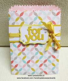 Stampin Up Mini Treat Bag, Stampin Up Mini Treat Bag Thinlit, Stampin Up Best Year Ever, Stampin Up Decorative Label Punch, Cariad Cards, Handmade bag