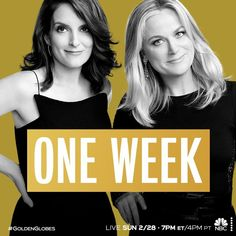 """NBC Entertainment on Instagram: """"Hosts Amy Poehler and Tina Fey take the stage in one week! 🤩 The #GoldenGlobes are LIVE Sunday, February 28 on NBC."""" Amy Poehler, Tina Fey, One Week, Golden Globes, February, Stage, Sunday, Entertainment, Live"""