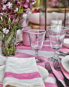 pink and white stripe tablecloth, wine goblets