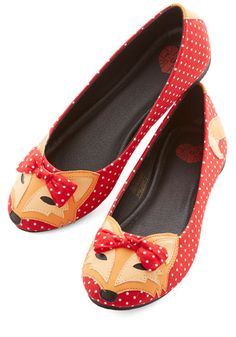 Clever So Sweet Flat in Red by T.U.K. - Red, Multi, Polka Dots, Print with Animals, Bows, Kawaii, Flat, Exclusives, Summer, Quirky, Best Seller, Critters, Top Rated, Woodland Creature