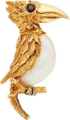 Shell, Sapphire, Gold Bird Brooch by Ruser