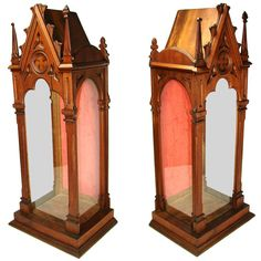 "Antique 1830-60 French 30"" Gothic Style Relic, Reliquary Vitrine.  Photo credit:  Antiques & Uncommon Treasure"