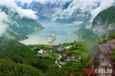 Photo about Mountain lake with ship. Image of fjord, norway, green - 21086065 Places Around The World, Oh The Places You'll Go, Places To Travel, Places To Visit, Europe Places, Tourist Places, We Are The World, Wonders Of The World, Norway Fjords